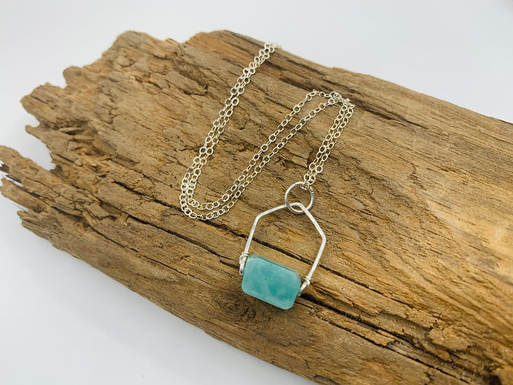 ERICA Sterling Amazonite Gem Point Necklace
