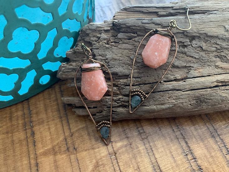 KICA Peach Calcite & Moss Aquamarine Olive Leaf Earrings
