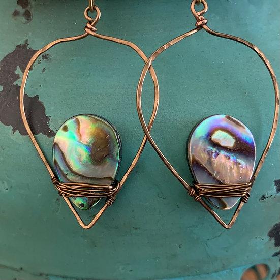 JACKIE Abalone & Bronze Lotus Leaf Earrings