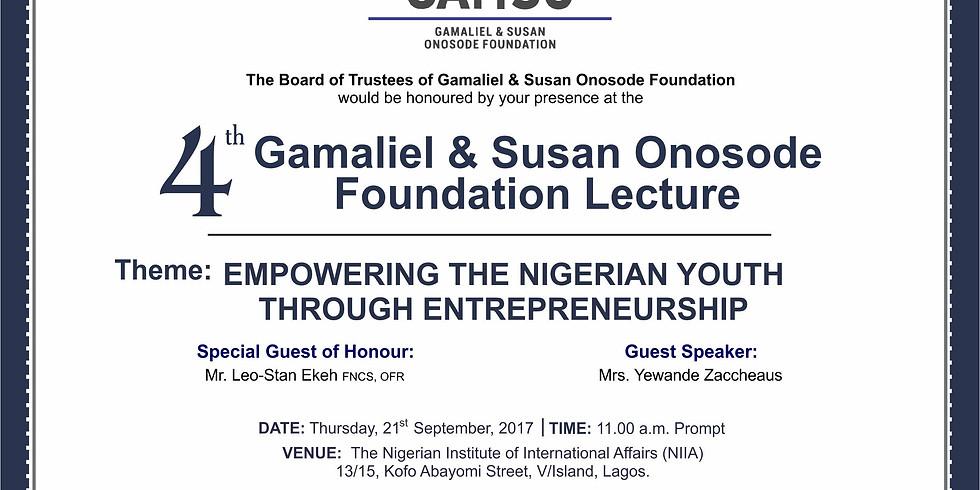 4th Gamaliel & Susan Onosode Foundation Lecture