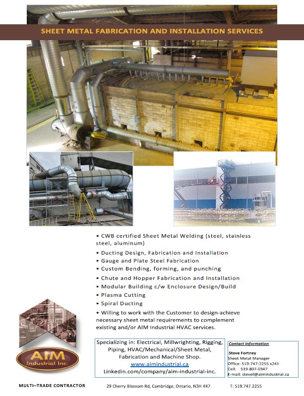 Say hello to our Sheet Metal Group for Design, Fabrication and Installation