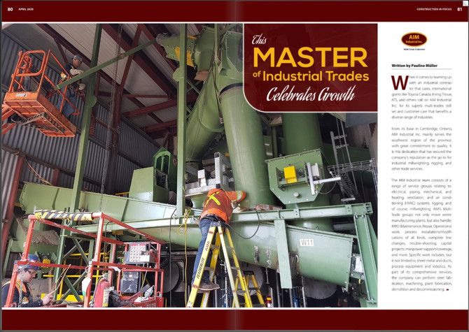 Construction in Focus Magazine: Feature article on AIM Industrial Multi-Trade Contractors