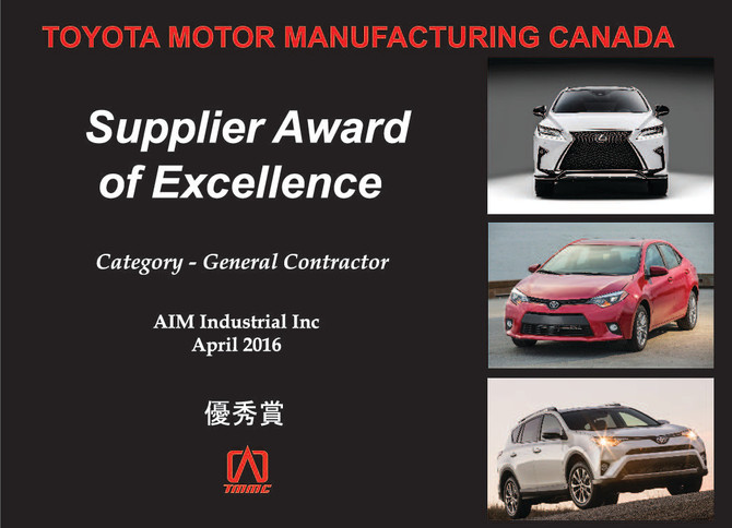 Supplier Award of Excellence for Toyota