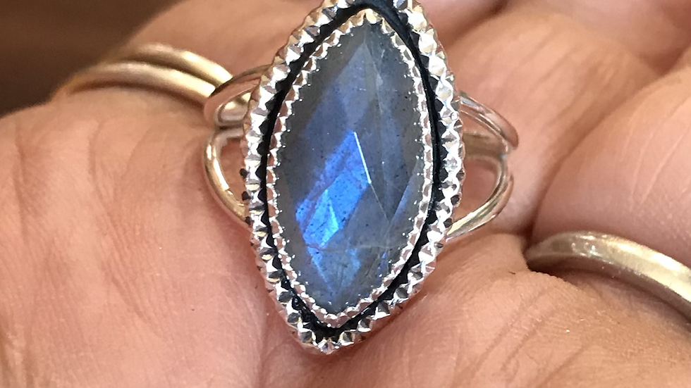 Faceted Marquis Labradorite Ring