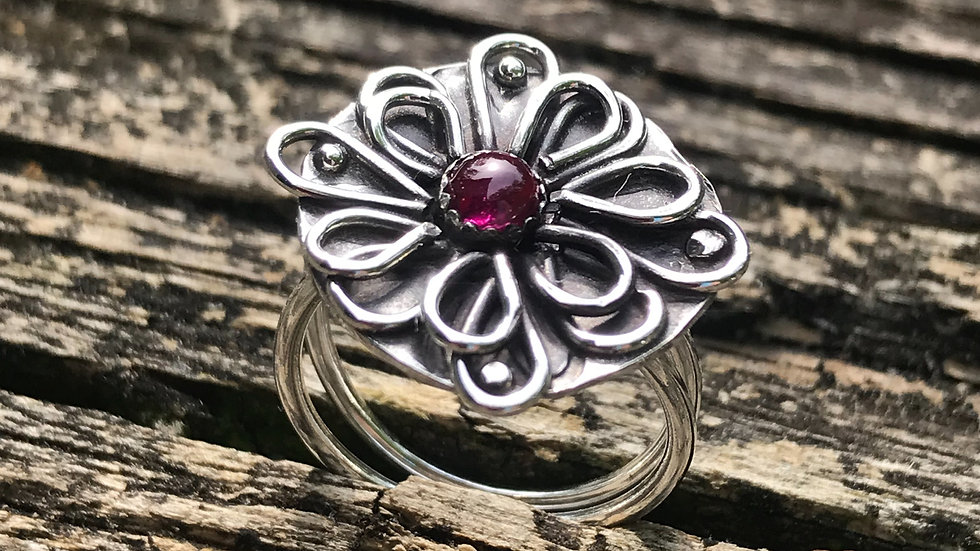 Argentium Sterling Ring with Ruby