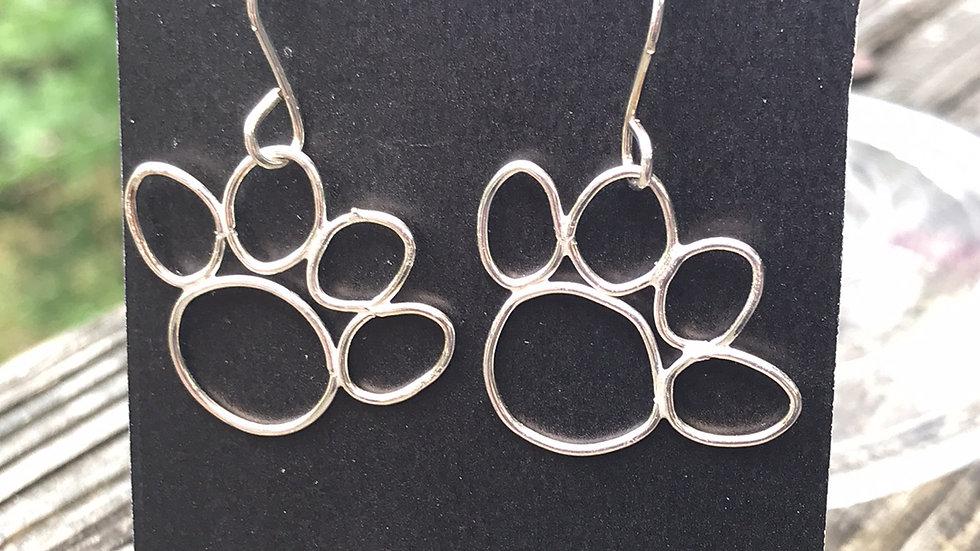 Argentium Sterling Cat Paw Earrings