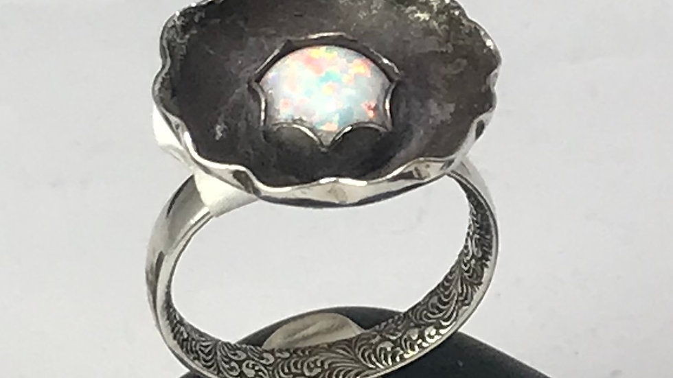 Opal in Argentium silver ring