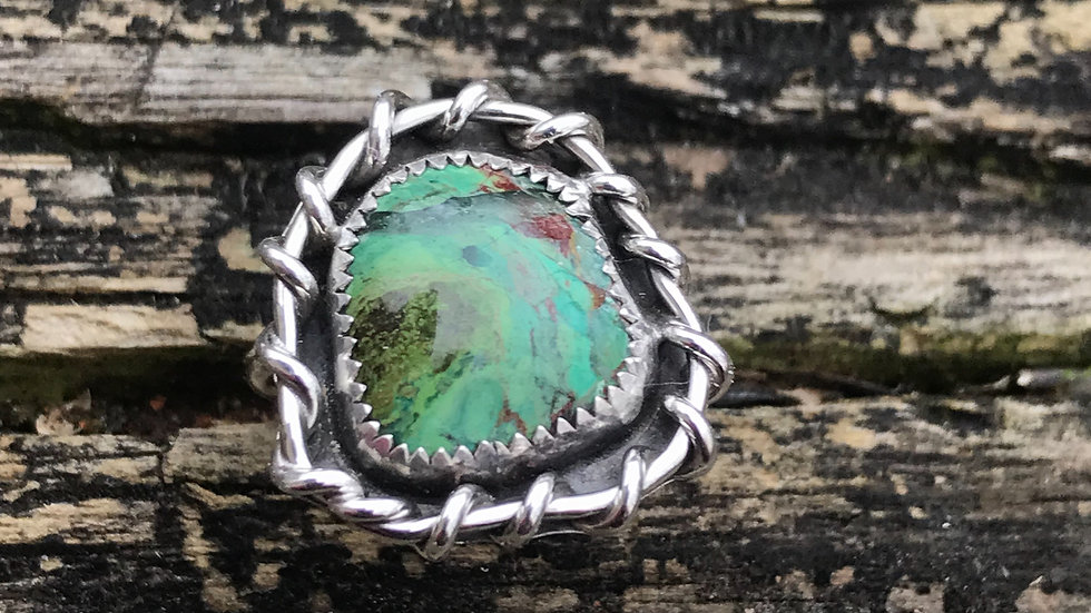 Green Jasper Natural Stone Ring