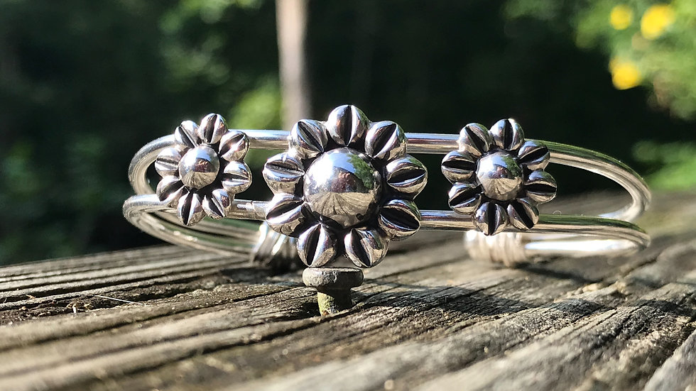 Upcycled Sterling Sunflowers on Argentium double cuff bracelet
