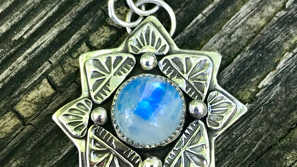 Moonstone set in the Finest Silver ,Argentium