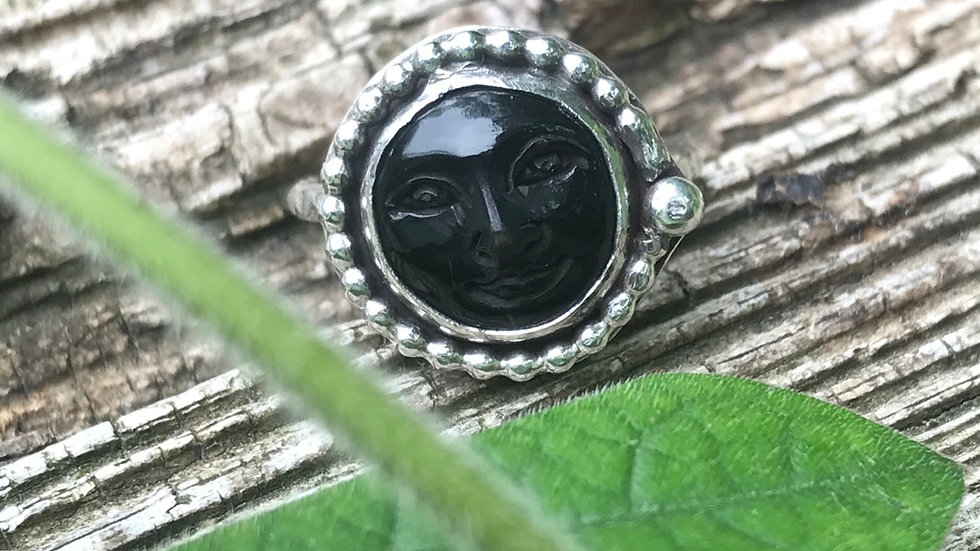 Smiling Face Carved Buffalo Horn Ring