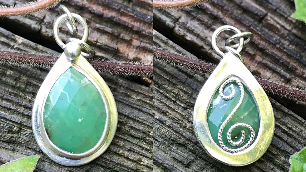 Chrysoprase 2 sided Pendant