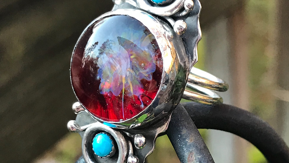 Oh La La! Argentium ring with Handmade Glass Cabochon