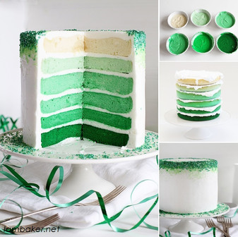 St. Patrick's Day Green Ombre Cake