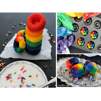 Mini Rainbow Doughnuts