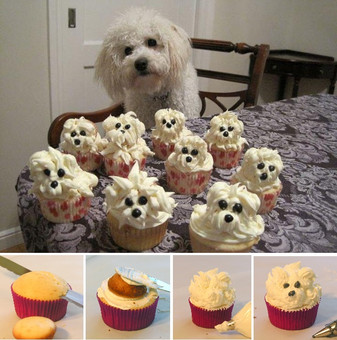ADORABLE white dog cupcake