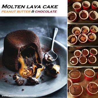 Molten Peanut Butter & Chocolate Lava Cakes