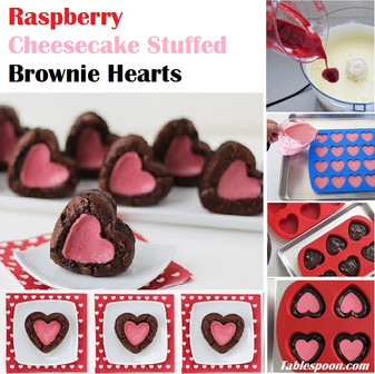 Raspberry Cheesecake Stuffed Brownie Hearts