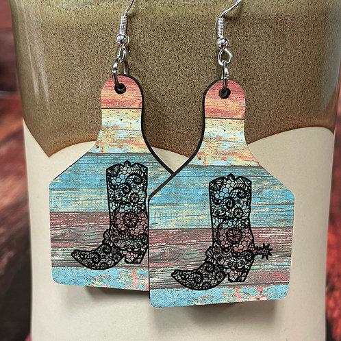 boot stencil cow tag earring pair
