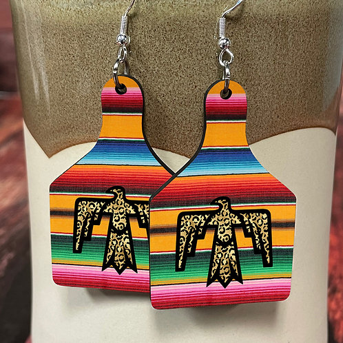 serape thunderbird cow tag earring pair