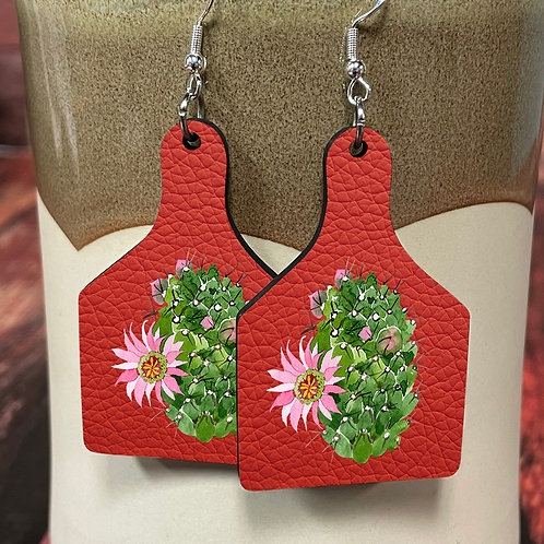 cactus red leather cow tag earring pair