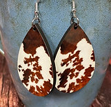 cow print oval earring pair
