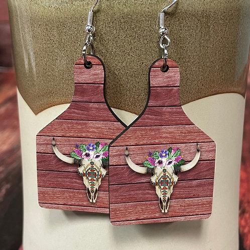 longhorn skull on wood cow tag earring pair