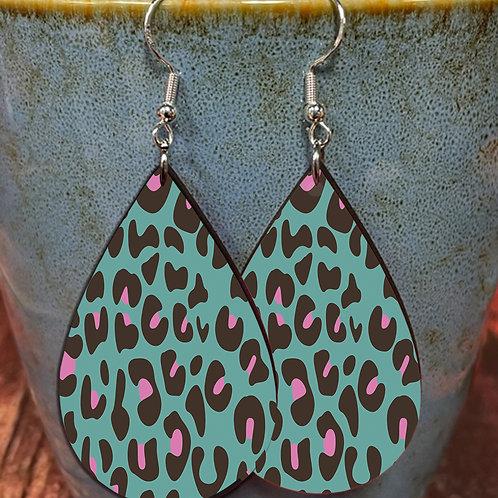 purple green cheetah oval earring pair
