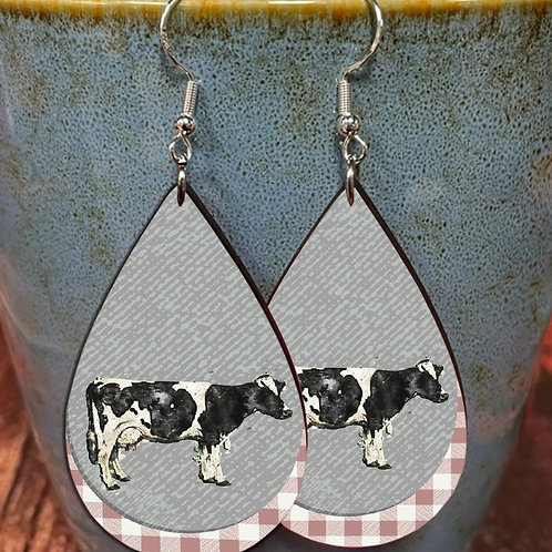 cow on plaid oval earring pair