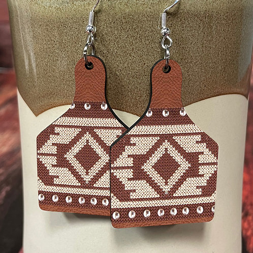 brown aztec cow tag earring pair