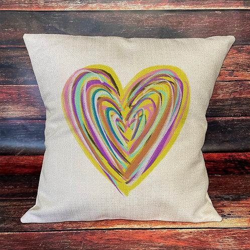 rainbow heart pillow