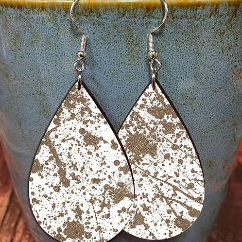 splatter brown on white oval earring pair