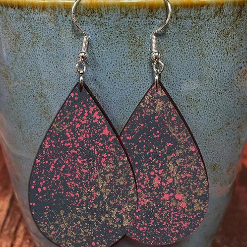 splatter pink gold on black oval earring pair