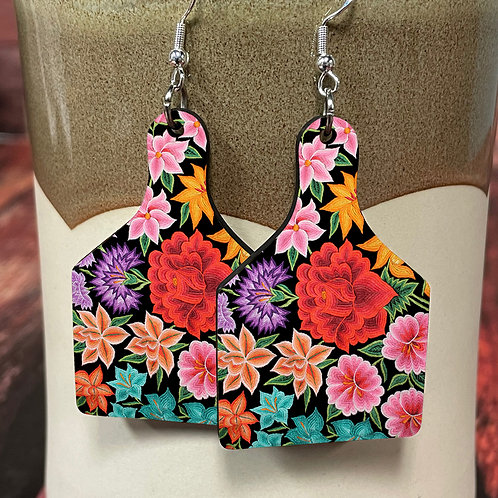 floral cow tag earring pair