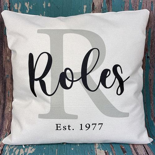 Custom family/monogram pillow