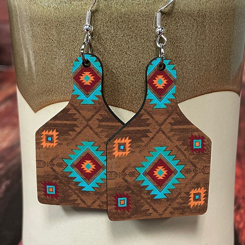 aztec pattern cow tag earring pair