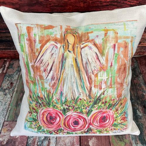 Blonde angel roses pillow