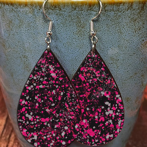 splatter pink on black oval earring pair