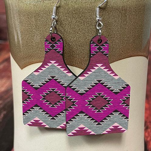 purple aztec cow tag earring pair