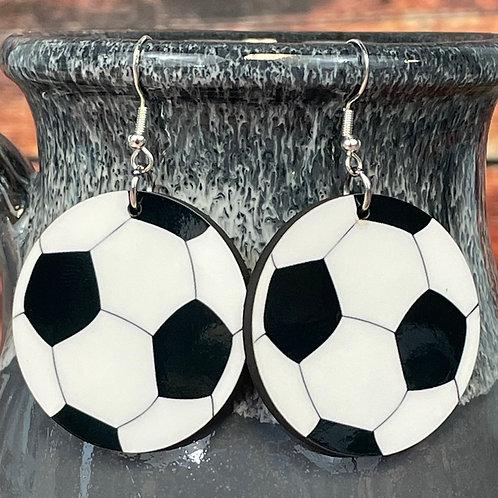 round soccer earring pair