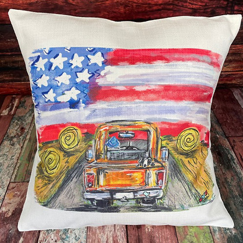 USA truck with hay bales pillow