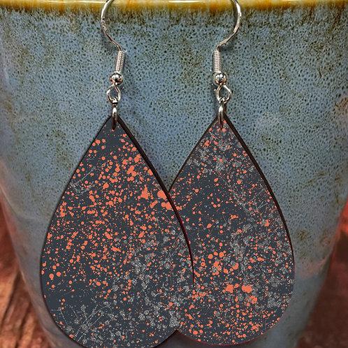 splatter pink gray on black oval earring pair