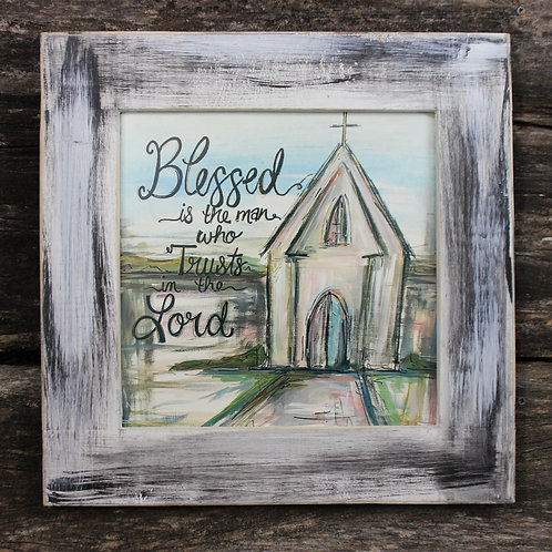 "Blessed Is The Man 15""x15"" framed picture"