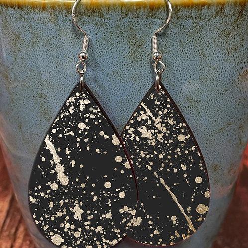 splatter silver on black oval earring pair