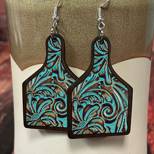 turquoise leather floral cow tag earring pair