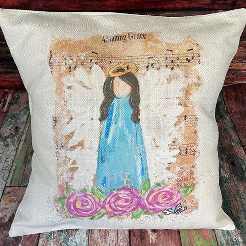 Amazing Grace brunette angel pillow