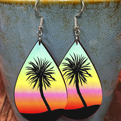 tropical palm oval earring pair