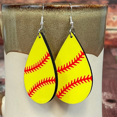 softball earring pair