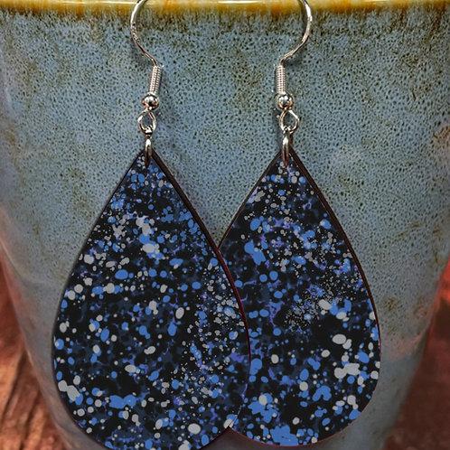 splatter blue gray on black oval earring pair