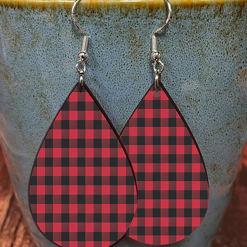 red plaid oval earring pair